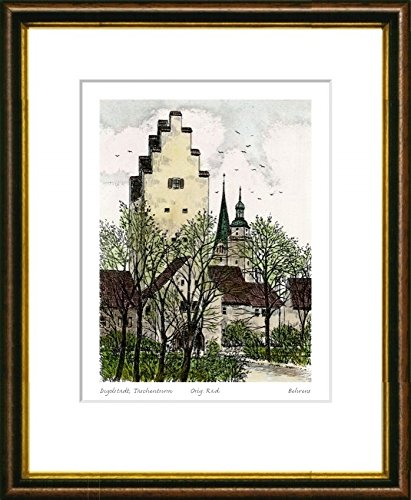 Handkolorierte original Radierung Ingolstadt, Taschenturm im Rahmen Braun-Gold hinter Passepartout, Graphik, kein Kunstdruck, kein Leinwandbild