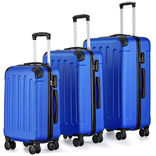 Juskys Hartschalen-Kofferset Yara 3-teilig mit Teleskopgriff, Zahlenschloss & 4 Doppelrollen | blau | Reisekoffer Hartschalenkoffer Trolley Rollenkoffer