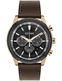 Citizen Watch Men's Solar Powered with Black Dial Analogue Display and Brown Leather Strap CA4346-06H
