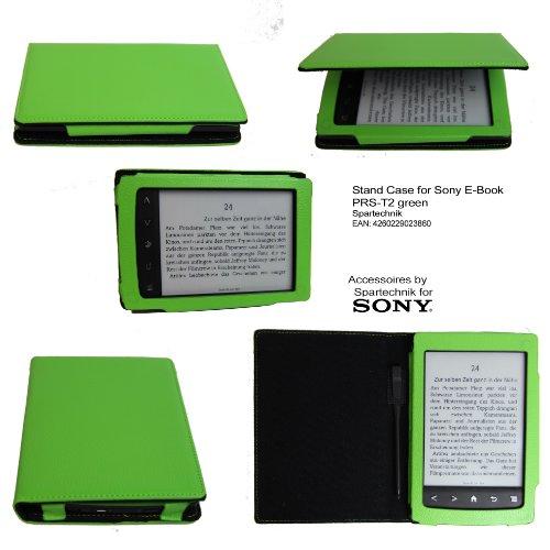 Spartechnik Grünes Stand Case für Sony PRS-T2 bestes Case Hülle Etui Tasche für Sony E-Book Reader Elektronisches Buch PRS T2 mit integriertem Ständer und Fach für Stift - grün - Reader Für Sony Ebooks
