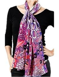 Prettystern - 160cm cent eau – écharpe en soie imprimé très artistique 3 couleurs
