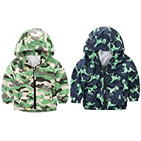 Bornbay Outdoor Baby Jacket Kids Hooded Dinosaur Design Boys Windproof Zipper Coats Camping Age 1-7