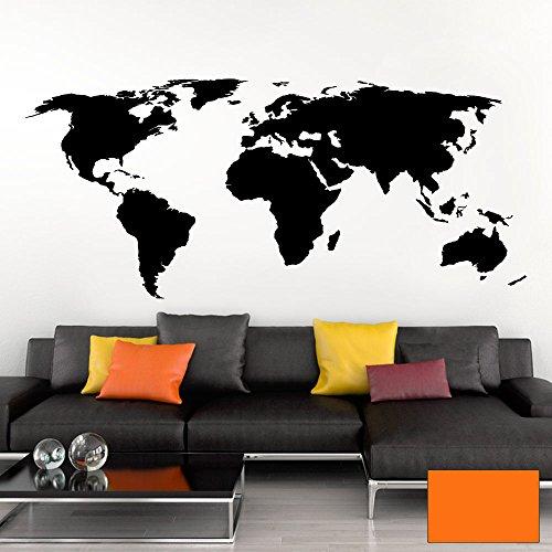 Grandora Wandtattoo Weltkarte Erde Globus Karte I orange 120 x 53 cm I Welt Atlas Schlafzimmer Wohnzimmer Wandsticker Wandaufkleber W698
