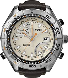 Timex Intelligent Quartz Men's Altimeter Watch with Yellow Dial Analogue Display and Brown Leather - T2N728