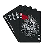 """Aufnäher zum Aufnähen oder Aufbügeln """"Pikass"""" (Ace Of Spades Dead Mans Hand) - 10,2cm, schwarz, Satz Pokerkarten, zum Besticken oder Aufbügeln, Taktische Aufnäher für den Kampfgeist"""