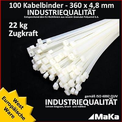 100 Stk Kabelbinder natur 360 x 4,8 mm EUROPAWARE-/ INDUSTRIEQUALITÄT von Makashop bei Lampenhans.de
