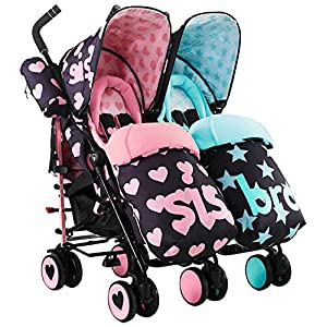 Cosatto Supa Dupa Double/Twin Stroller, Suitable from Birth, Sis and Bro 5 DENGHENG ❤ Stroller Sleep Bag, Softly padded with warm fleece lining and extra quilting. ❤ 2 in 1 - Removable front unzips, easily converting to a comfy Seat liner ❤ Can Also be used as a Padded Pushchair or Buggy Liner- ideal for the summer months 11