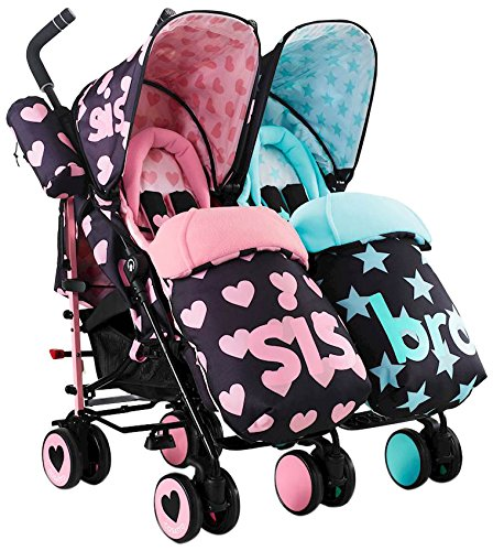 Cosatto Supa Dupa Double/Twin Stroller, Suitable from Birth, Sis and Bro 5 Cosatto Supa dupa is a compact from-birth double stroller. it's lightweight but sturdy. the stowaway auto stand makes it great for home or car storage. With upf50+ extendable hoods, rain cover and fleece-lined foot muffs, supa dupa in charge, rain or shine.  the handy compact fold means you can hop on and off transport. Each seat has its own recline - so whatever their age, whatever their stage, whatever their mood that day, they're happy. 1
