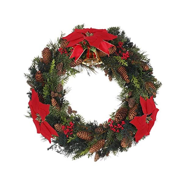 WEKNOWU Paquete de 30 Adornos de Navidad de Flores Artificiales de Pascua Rojas, decoración de árbol de Navidad, Seda…