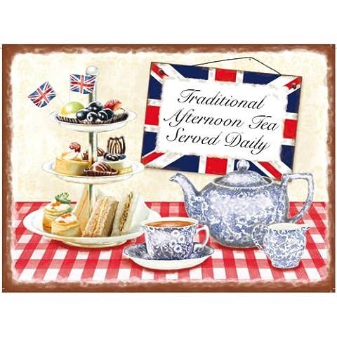 Placa metálica decorativa, diseño de té de la tarde británico
