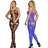 LOVELYBOBO 2-Pack Cuerpo de Tira Conjunto de lencería La Ropa Interior de la Ropa Interior Vestido de la muñeca del cordón de Las Mujeres de la Ropa de Noche de (Negro+Azul)