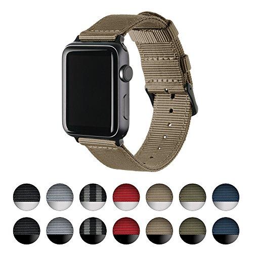 Archer Watch Straps   Premium Nylon Armband für Apple Watch   Schnallen und Adpaters in Edelstahl und Schwarz Farben   Uhrenarmband für Herren und Damen   Khaki/Schwarz, 38mm (Nylon Strap Khaki)