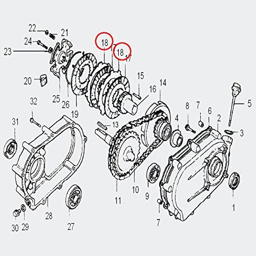 WilTec Pièce détachée Plaquette de frottement, plaquette acier pour embrayage à bain d'huile 6,5-13 CV