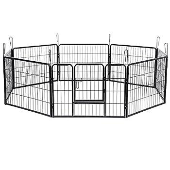 Songmics Luxe Parc Enclos pour Chiens Chiots Animaux de compagnie 80 x 60 cm noir PPK86H