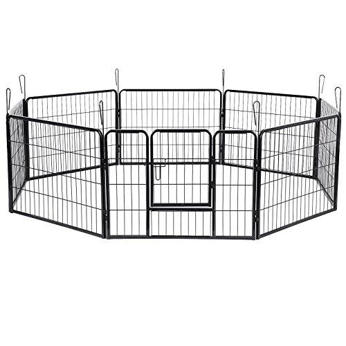 SONGMICS Welpenfreigehege 80 x 60 cm Hundegehege Laufstall Zaun Gitter Welpen Hasen Kaninchen PPK86G