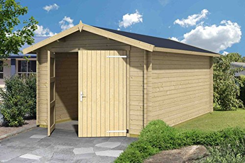 Holzgarage H100-28 mm Blockbohlenhaus, Grundfläche: 16,80 m², Satteldach