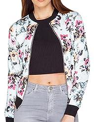 Reaso Femme Casual Blouson Jacket Tops Outwear Coat en Floral Jacket de Bicyclette pour Printemps Automne