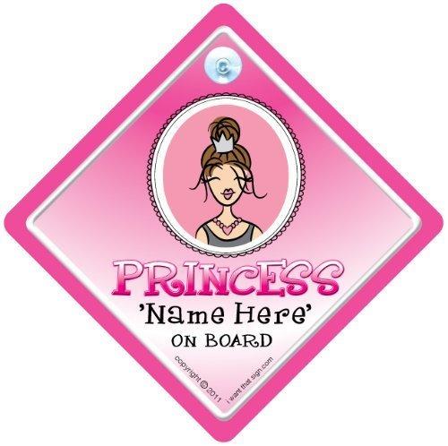 Princess on Board, Princess on Board Schild, modernes Prinzessin, personalisiert, Auto-Schild, Ein Name, personalisiert,