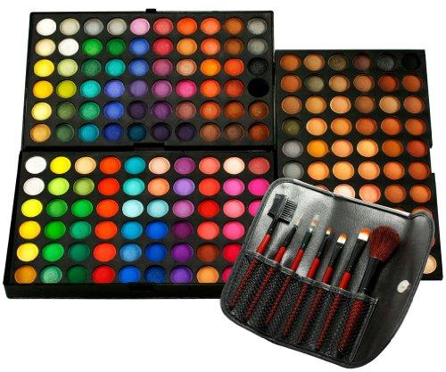 Nouveau 180 couleur Palette Fard à paupières Maquillage des Yeux Cosmétique 3 Couches + Kit de Pinceaux de Maquillage 7pcs