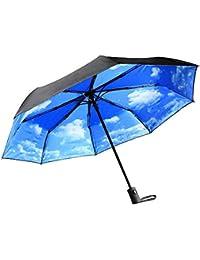 Innoo Tech Paraguas de Viaje Plegable Automático Portátil 55MPH Diseño Clásico Ligero 8 Varillas Contra Viento Tela Impermeable UPF>50 Color Azul Cielo