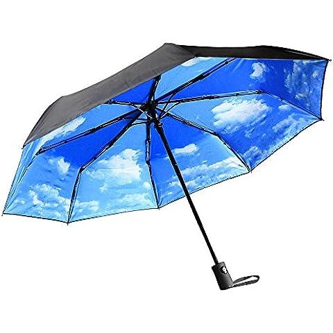 Innoo Tech Paraguas Plegable para Viaje Paraguas Automático Paraguas Portátil 55MPH Diseño Clástico Ligero 8 Varillas Contra Viento Tela Impermeable UPF>50 Color Azul