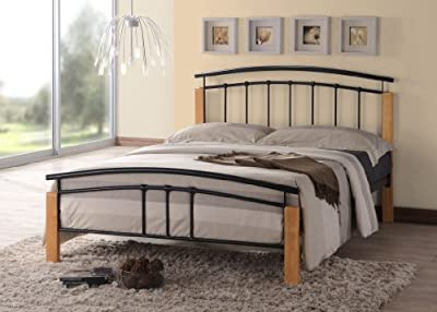 Thiago Contemporary Wooden Beech and Black Metal Bed Frame Bedroom Furniture (4FT6 Double)