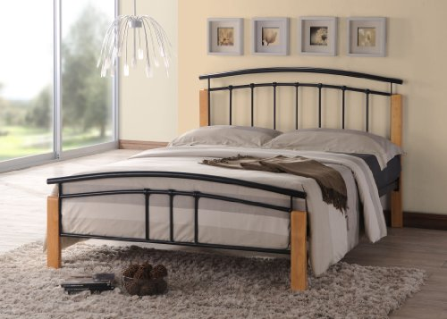 Tetras Contemporary Wooden Beech and Black Metal Bed Frame Bedroom Furniture (3FT Single)