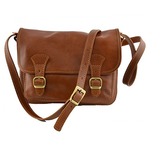 Borsa A Tracolla In Pelle Colore Cognac - Pelletteria Toscana Made In Italy - Borsa Donna
