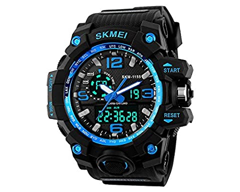 DSstyles Herrenuhr 50M Wasserdichte Digital Armbanduhr Shock-resistente Sportuhr Analoge Chronographenuhr mit Big Dual Dial - (Sportuhr Herren Blau)