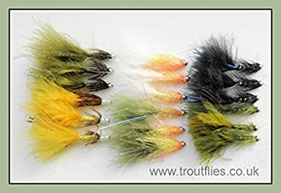 Damsel Trout Flies, 18 Pack Mixed Varieties inc, Flash, Size 10 For Fly Fishing from Troutflies UK