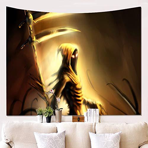 Tapestry Wall Hanging,Schreckliche Grim Reaper Und Goldene Sichel,Gotische Hippie Psychedelischen Tod Spirituelle Wall Art Dekor Print Fabric, Große Dekorative Hängenden Tuch Für Schlafzimmer Wohnz