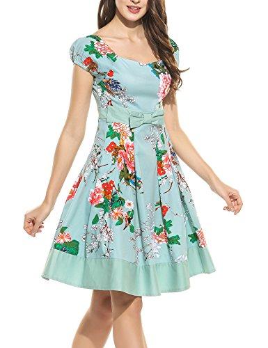 EUALL Damen Vintage Elegant Kleid Cocktailkleid V-Ausschnitt A-Linie Rockabilly Patchwork Saum -