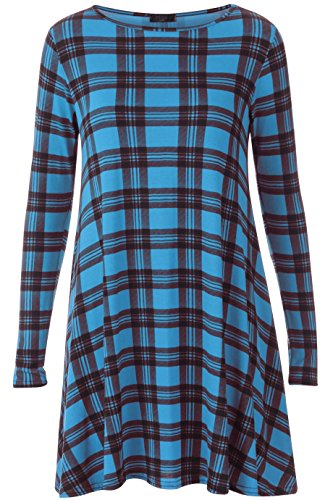 Comfiestyle - Robe - Patineuse - Manches Longues - Femme Turquoise