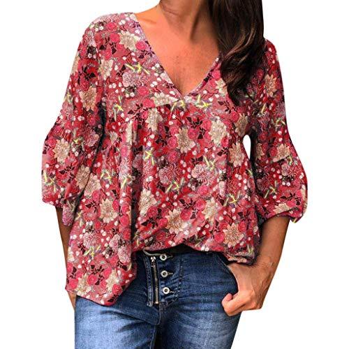 Rotes Damen T-shirt Neue Band (Tooth Damen Top Sommer Casual Halbarm V-Ausschnitt gedruckt T-Shirt Tops Bluse (rot,XXL))