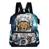 Comic Dackel Hund Astronaut im Weltall leicht wasserdicht Polyester groß Kapazität Rucksack Campus Rucksack Reise Daypack