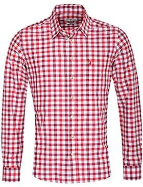 Almsach Trachtenhemd Oliver Slim Fit Mehrfarbig in Weinrot, Rot und Weiß Inklusive Volksfestfinder