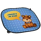 Auto-Sonnenschutz mit Namen Janosch und schönem Teddybär-Motiv für Jungs - Auto-Blendschutz - Sonnenblende - Sichtschutz