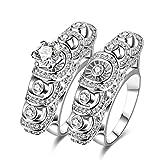 AMDXD Doppelring Set Versilbert Ring Damen Kreis Runde Hohl Zirkonia Ehering Silber Größe 57