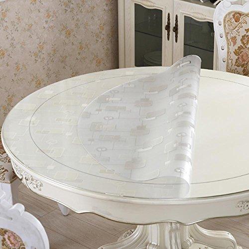 Imperméable nappe Nappe ronde en pvc Tissu à table ronde en verre doux Nappes imperméables et anti-huile anti-chaud (taille facultative) (4 couleurs en option) pour dîner ( Couleur : A , taille : 60 cm )