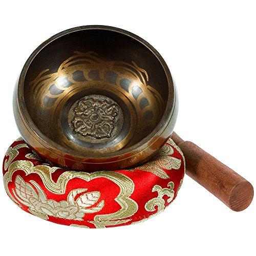 YOSASO Tibetische Klangschale für Meditation, Yoga, Buddhismus, etc, mit einer Holzmesse