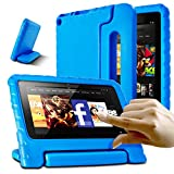 AFUNTA Fire 7 2015 Case,Super Lightweight Shock Proof Convertible Handle Stand EVA Protective Kids Case for A m a z o n Fire 7 inch Display Tablet (5th Generation - 2015 Release Only)-Blue