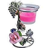 VANSHIKA Decorative PINK CANDLE STAND SECNTED GLASS HOLDER /TABLE STAND HOME AND DECOR