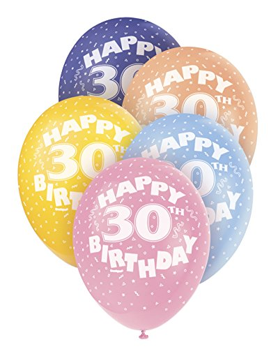 Pack of 5 x Happy 30th Birthday Balloons 12 inches