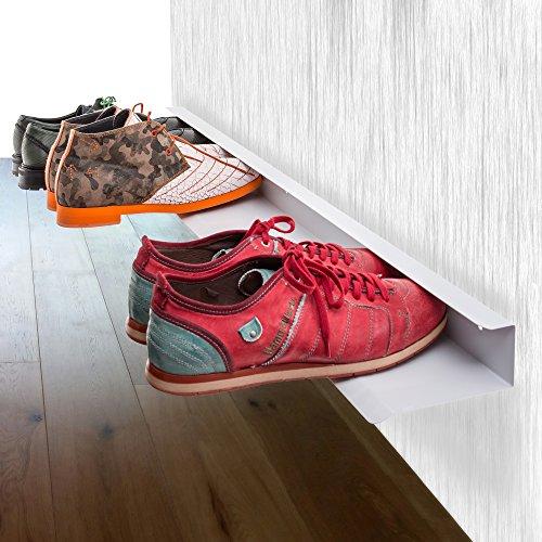 Wand-schuhregal (Bentatec Schuhregal für 4 Paar Schuhe zur 100 cm lang Schuhschrank Regal Schuhe)