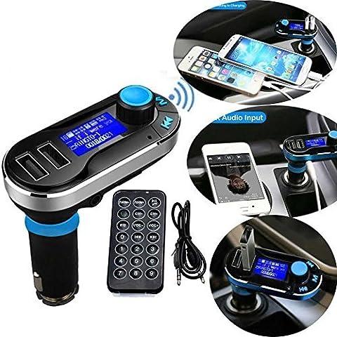 Neue Version Professional FM Transmitter Car Kit Bluetooth Wireless MP3 Player Musik Fernsprecheinrichtung Ladegerät Dual 2 USB ports 5V/2.1A Output, unterstützt Micro SD/TF Karten Leser im Auto KFZ Radio Adapter inkl. Fernbedienung