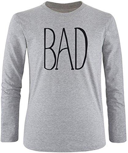 EZYshirt® BAD Herren Longsleeve Grau/Schwarz