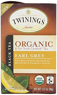 Twinings of London Organic Earl Grey Tea, 1.27 Ounce (Pack of 6)