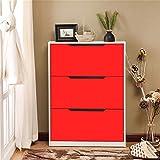 UILS Shoe Cabinet/Shoe Rack Schuhschrank, Einfache und Moderne 3 Tür Schuhschränke Schlank Home Storage Schuhregal (Farbe : Rot)