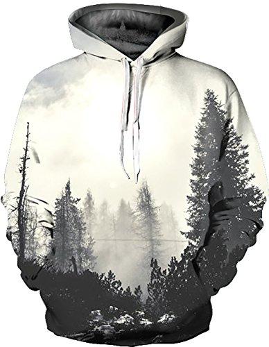 KamiraCoco Herren Kapuzenpullover 3D Druck Muster Hoodie Weihnachten Halloween Sweatshirt Pullover (S/M, Nebelwald)