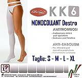 MONOCOLLANT ANTITROMBO DESTRO POST OPERATORIO KK6 - Calza a COMPRESSIONE GRADUATA Gamba Destra - Taglie S/M/L/XL - Made in Italy (L - Standard)